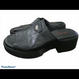 Harley Davidson Leather Platform Sandals Sz 8.5